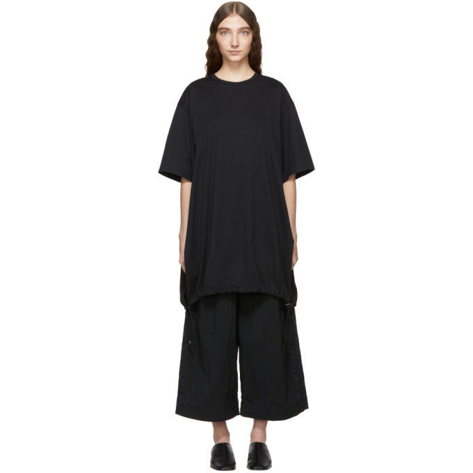 Photo: Y-3 Black Drawstring Long T-Shirt Dress