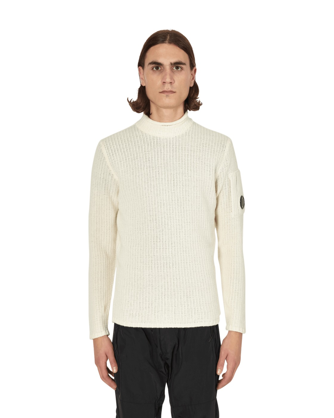 C.P. Company Mock Neck Sweater Gauze White