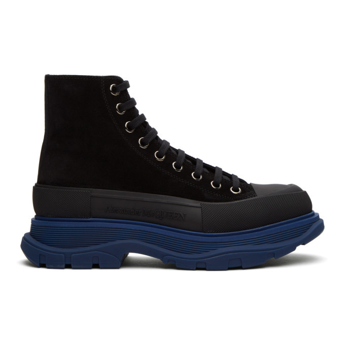 Photo: Alexander McQueen SSENSE Exclusive Black and Blue Suede Boots