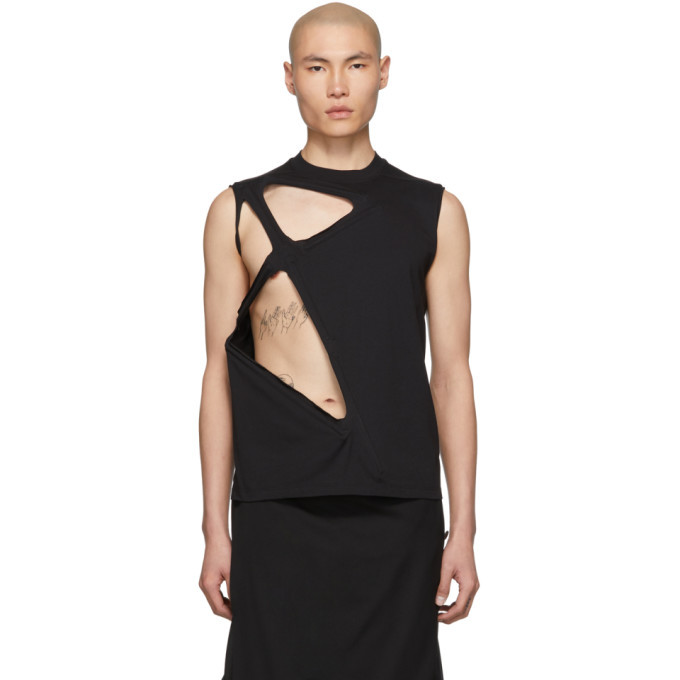 Photo: Rick Owens Black Cut-Out Rod Tank Top