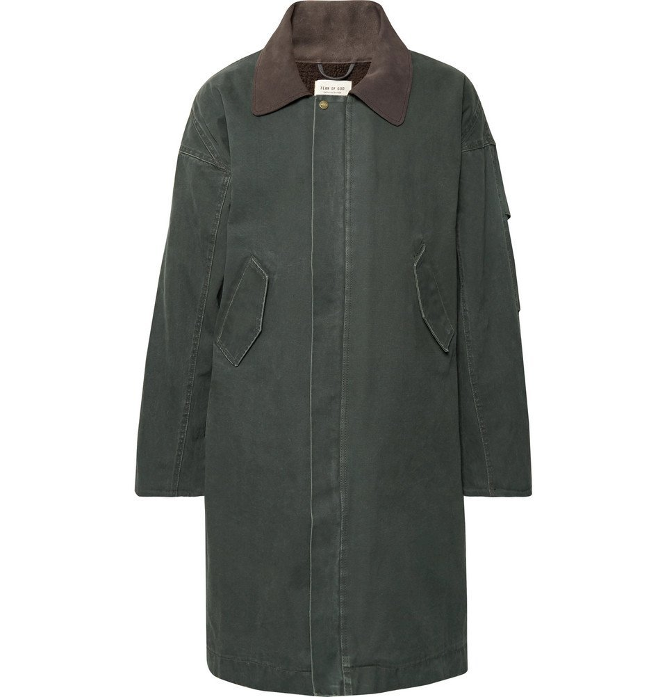 Photo: Fear of God - Oversized Suede-Trimmed Faux Shearling-Lined Canvas Coat - Green