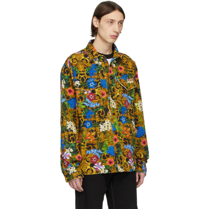 Versace Jeans Couture Multicolor Barocco Jungle Denim Jacket