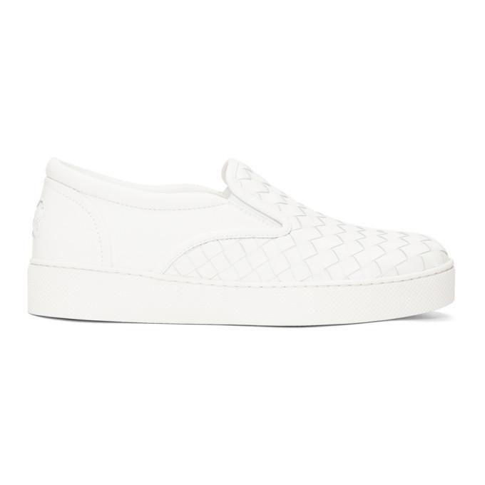 Photo: Bottega Veneta White Intrecciato Dodger Slip-On Sneakers