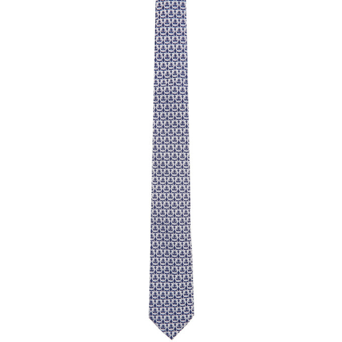 Photo: Salvatore Ferragamo Navy and White Gancini Tie