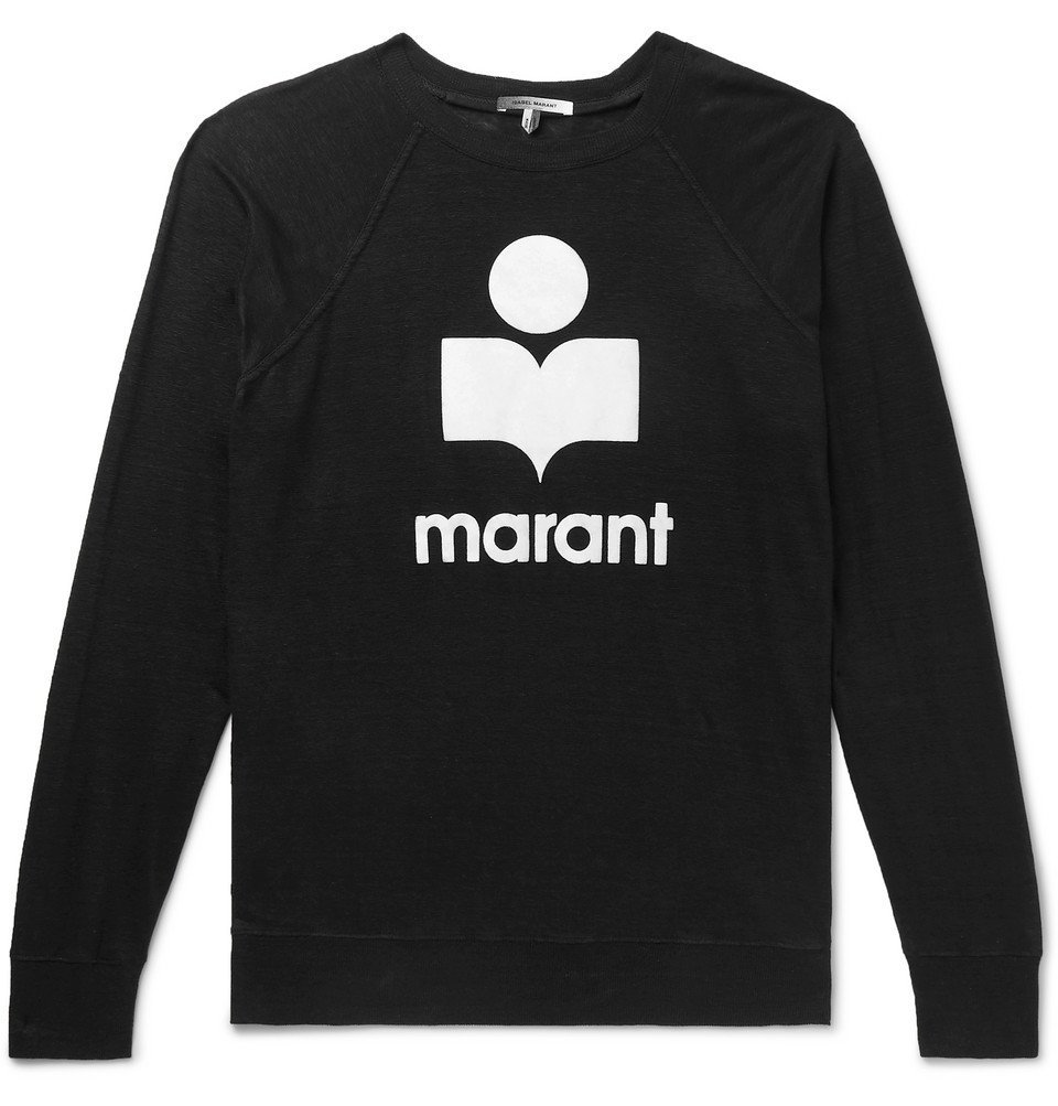 Photo: Isabel Marant - Kieffer Logo-Flocked Linen T-shirt - Black