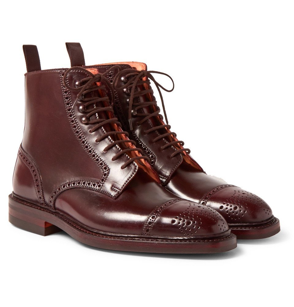 Photo: George Cleverley - Toby Cap-Toe Horween Shell Cordovan Leather Brogue Boots - Men - Burgundy