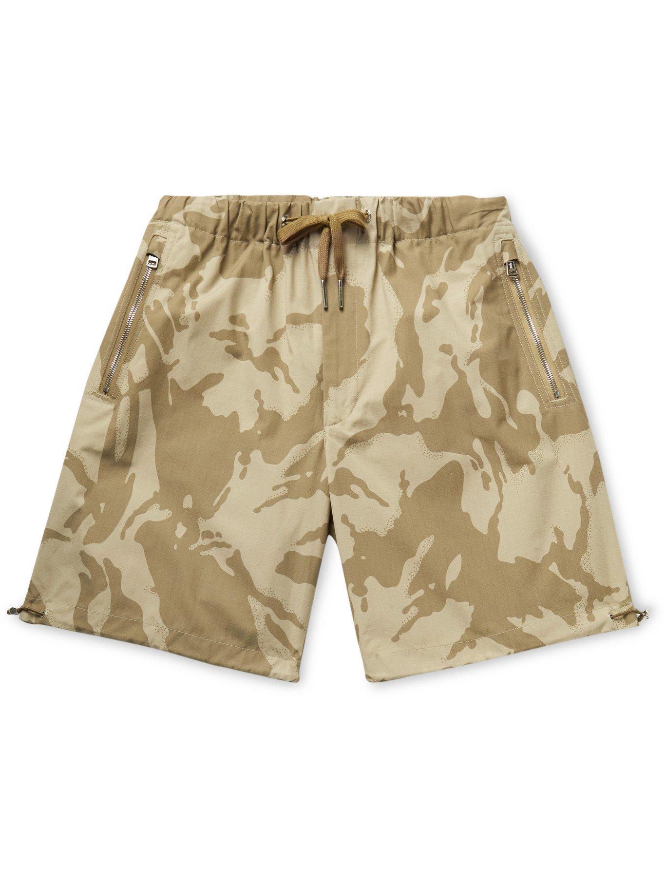 Photo: MONCLER - Camouflage-Print Cotton-Ripstop Drawstring Bermuda Shorts - Neutrals - IT 52