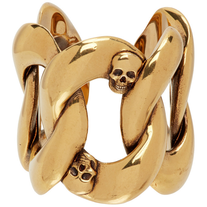 Photo: Alexander McQueen Gold Chain and Skull Ring