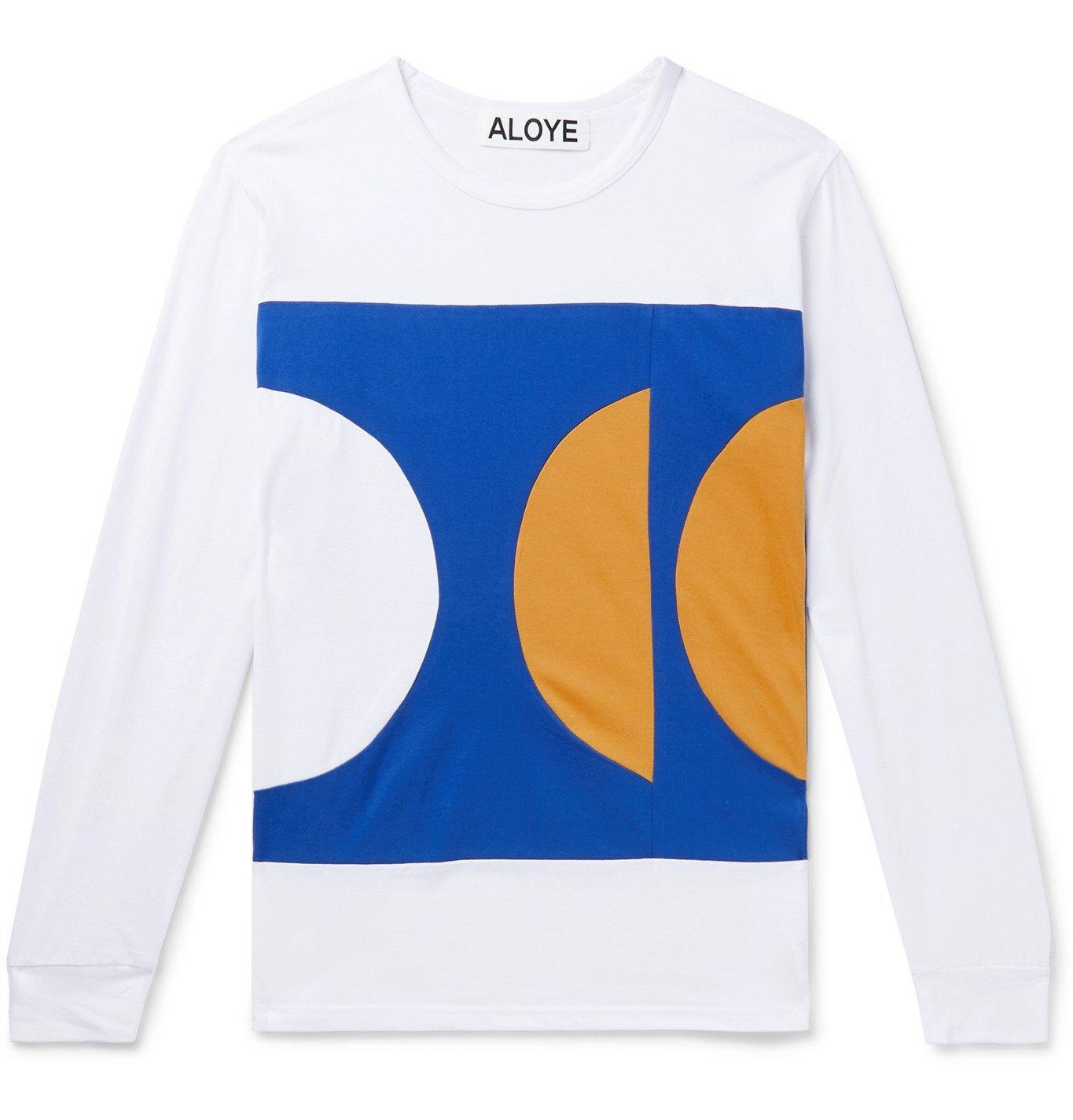 Photo: Aloye - Colour-Block Cotton-Jersey T-Shirt - White