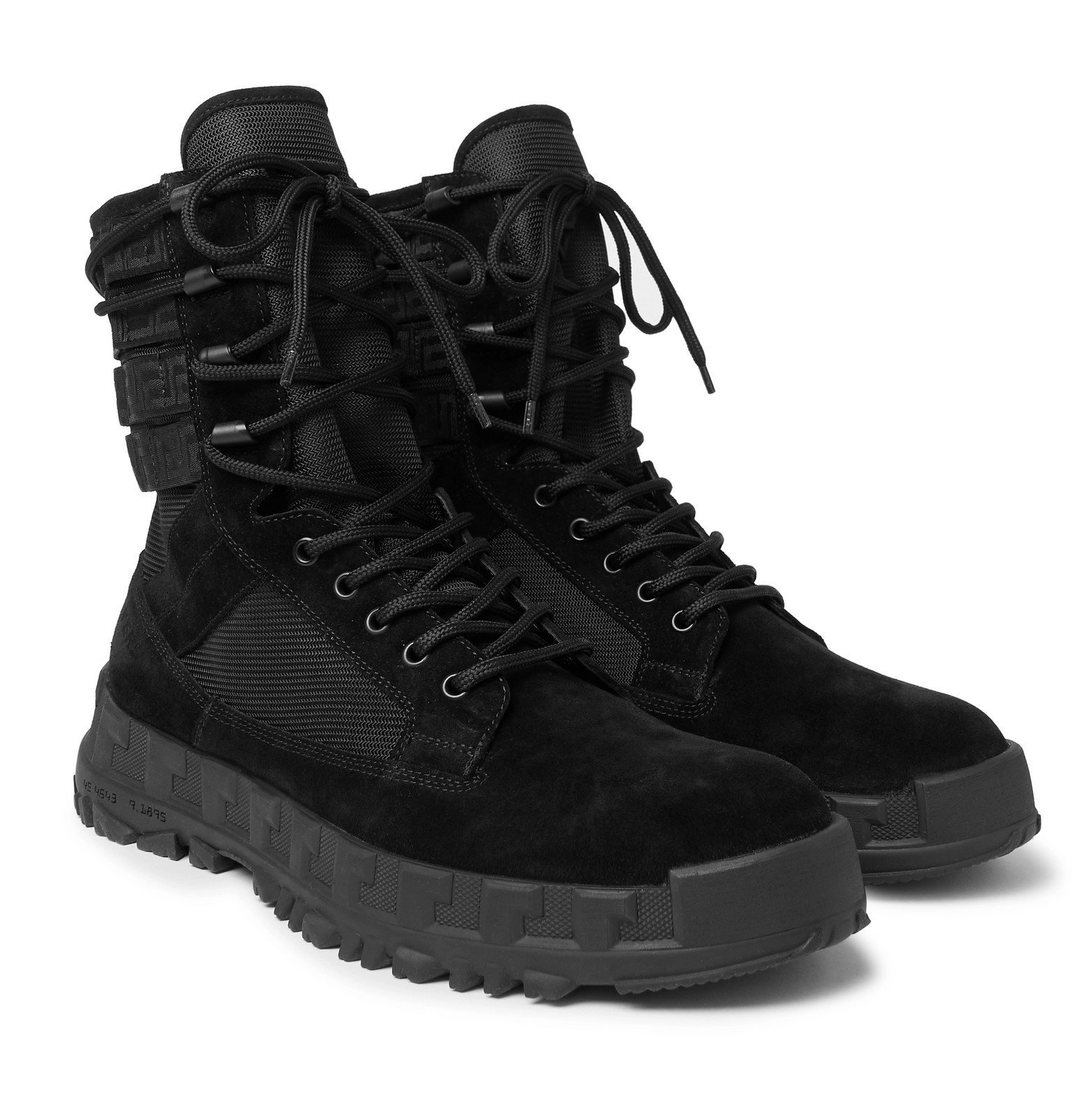 Photo: Versace - Logo Webbing-Trimmed Suede and Mesh Boots - Black