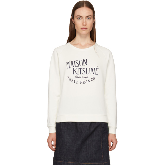 Photo: Maison Kitsune White Palais Royal Logo Sweatshirt