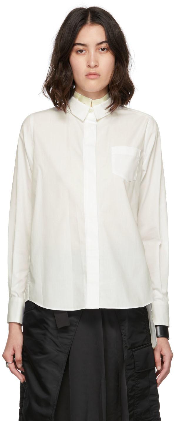 Sacai White Poplin & Satin Shirt