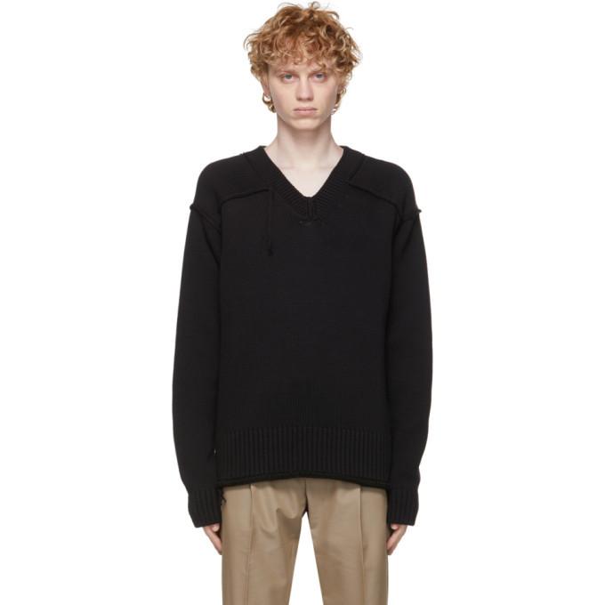 Dunhill Black Panel Detail V-Neck Sweater