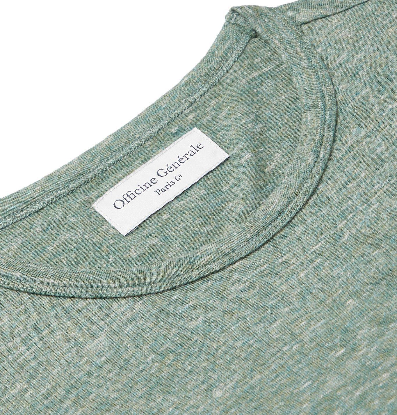Officine Generale - Mélange Cotton-Jersey T-Shirt - Green