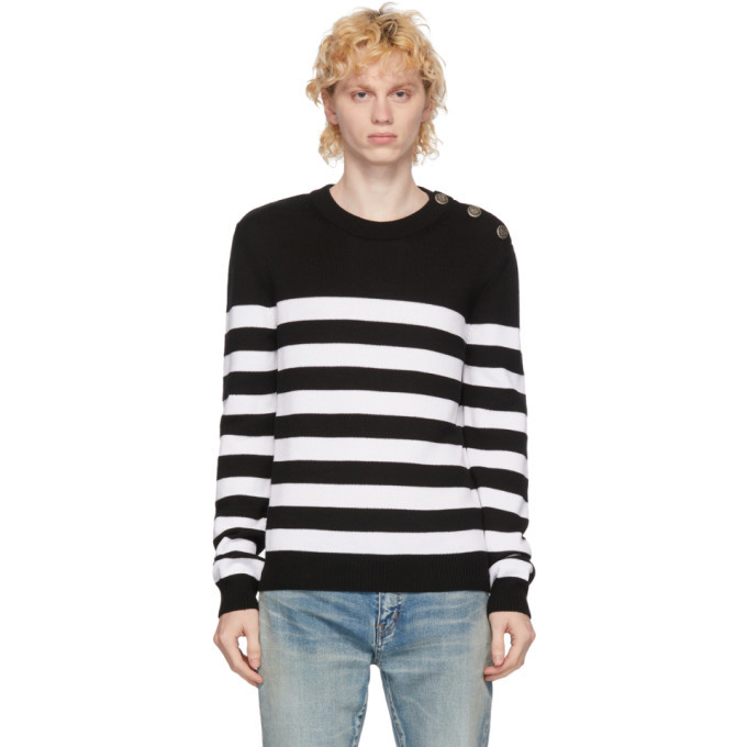Photo: Balmain White and Black Wool Nautical Sweater