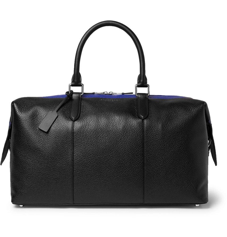 Smythson - Burlington Striped Full-Grain Leather Holdall - Black