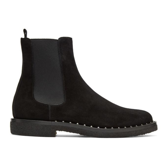 Prada Black Valentino Garavani Studded Suede Desert Boots 0PzuWku2