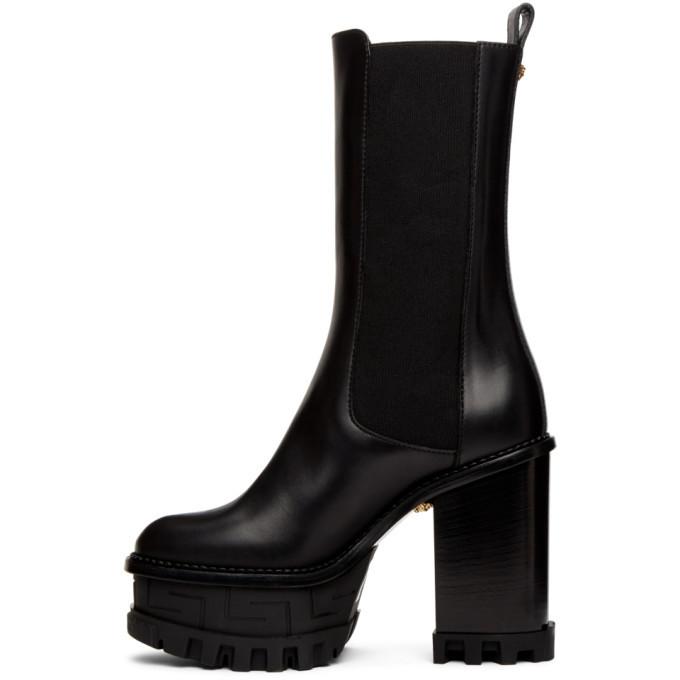 Versace Black Greca Labyrinth Boots