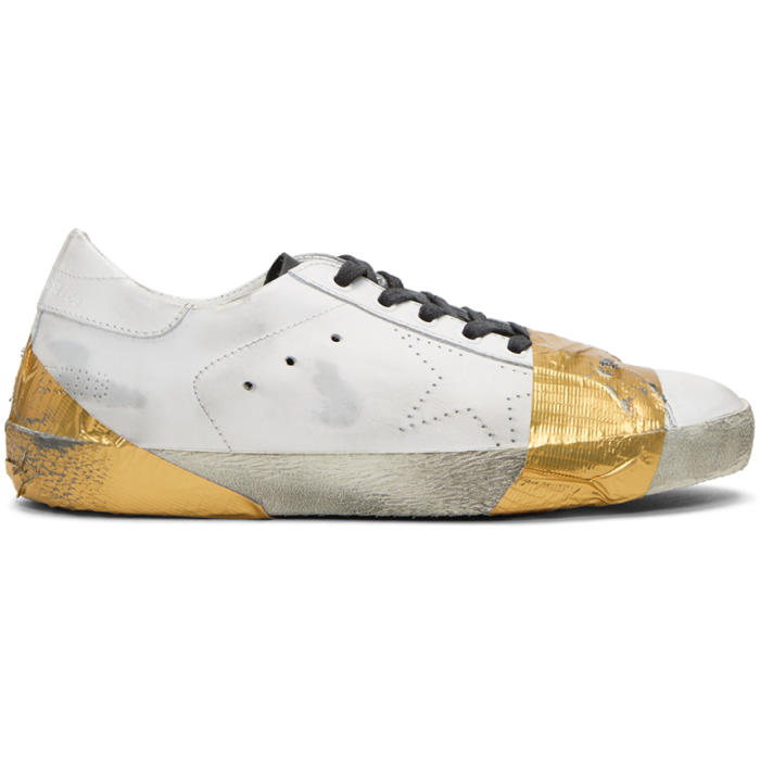 Golden Goose White and Gold Tape Skate