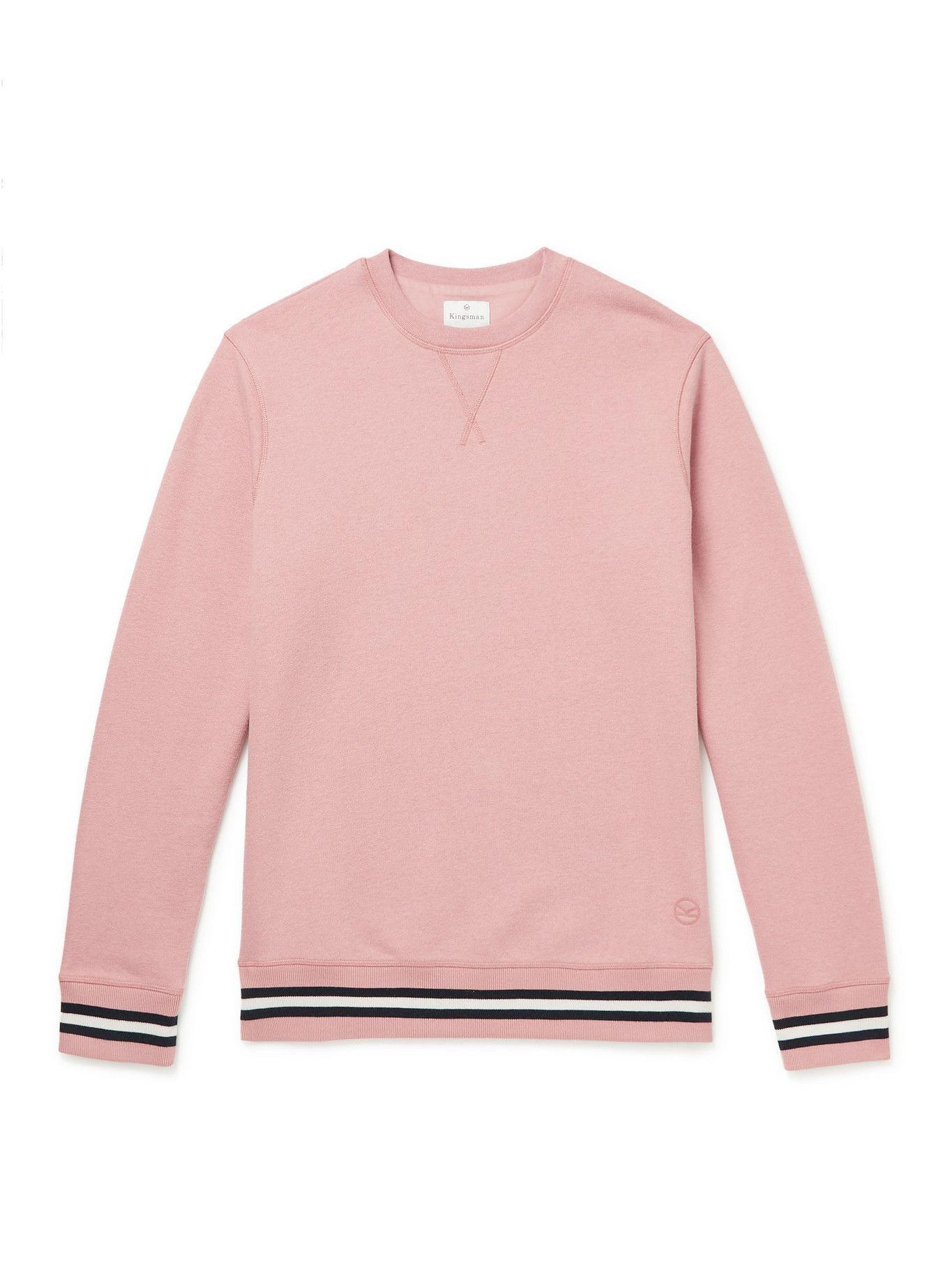 Photo: Kingsman - Striped Cotton and Cashmere-Blend Jersey Sweatshirt - Pink