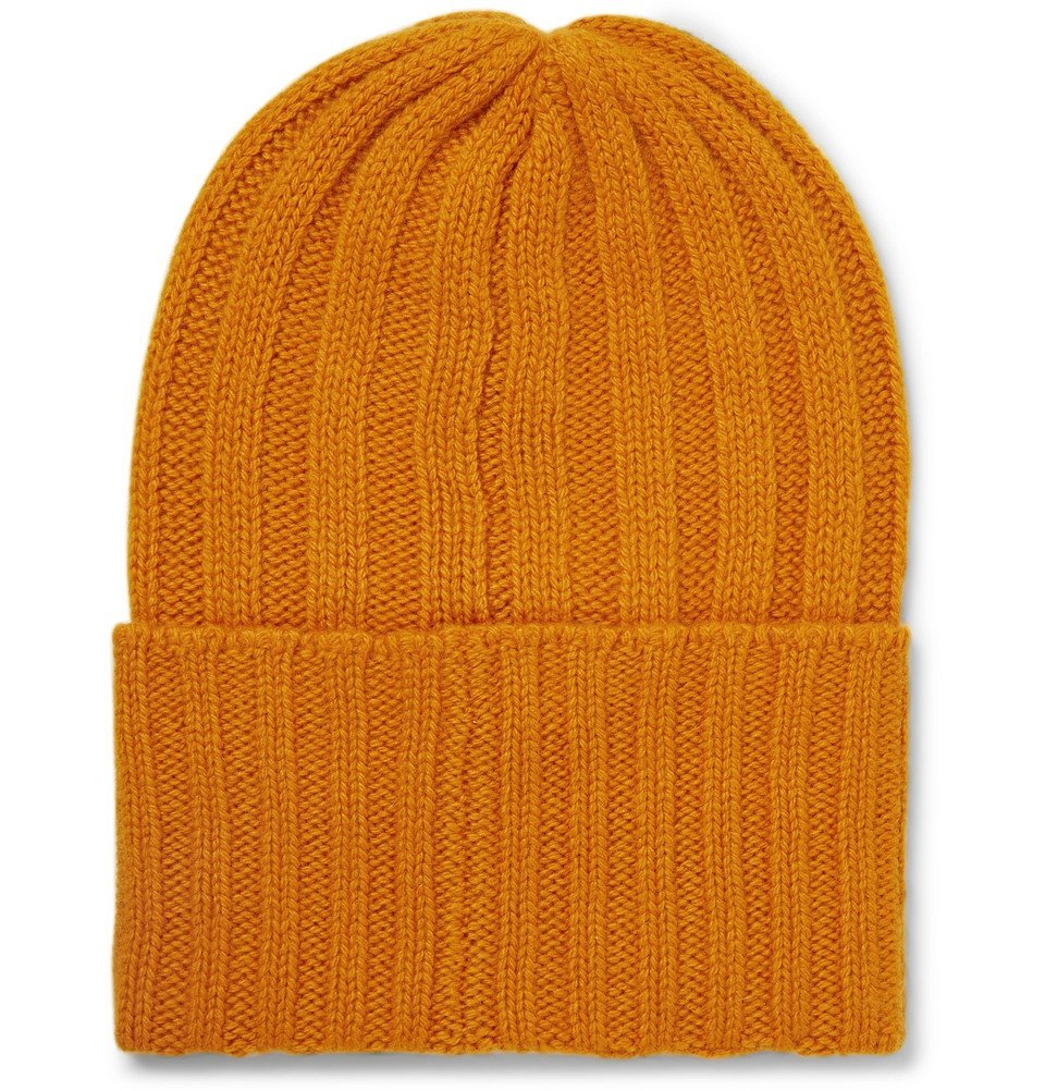 The Elder Statesman - Short Bunny Echo Ribbed Cashmere Beanie - Orange