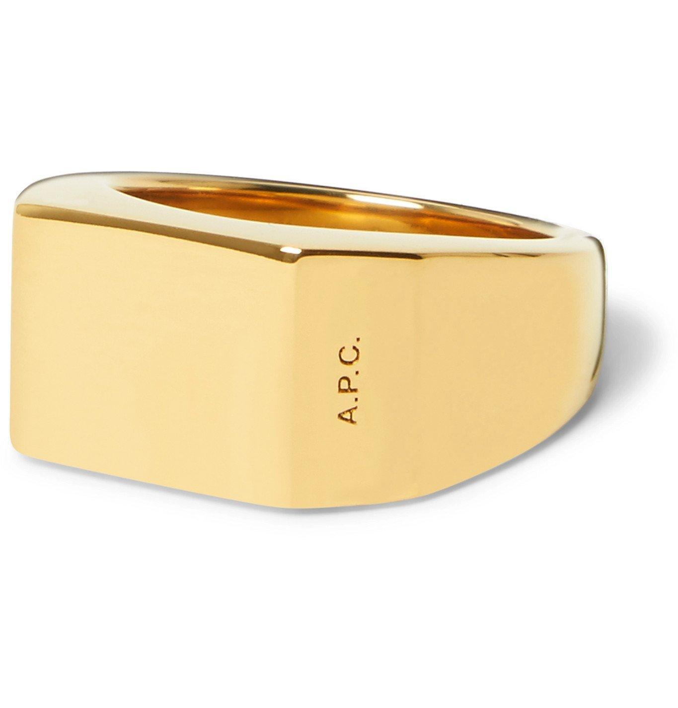 Photo: A.P.C. - Nolan Logo-Engraved Gold-Tone Signet Ring - Gold