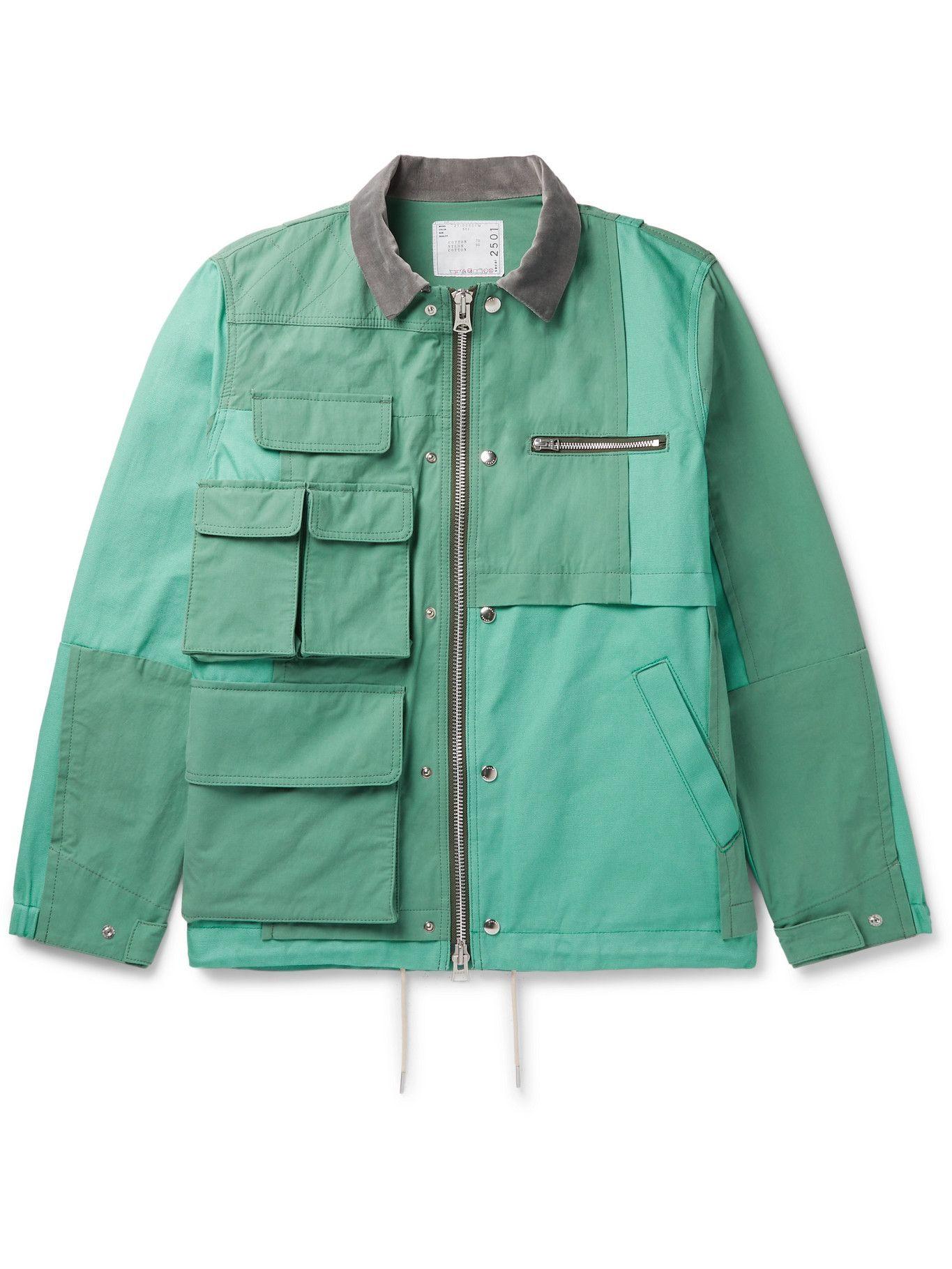 SACAI - Asymmetric Panelled Cotton and Nylon-Blend Oxford Jacket - Green