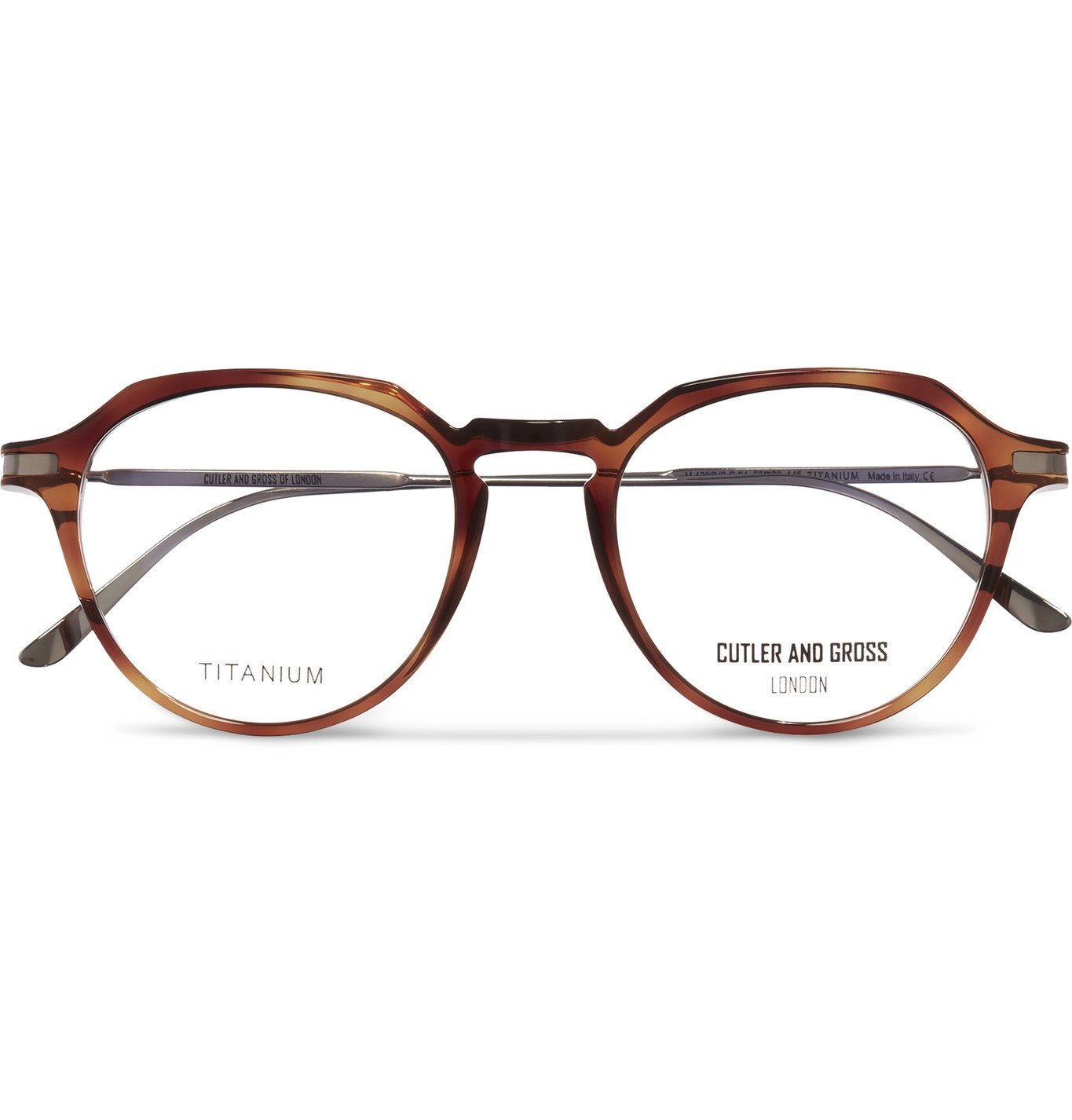 Photo: Cutler and Gross - Round-Frame Tortoiseshell Acetate and Titanium Optical Glasses - Tortoiseshell