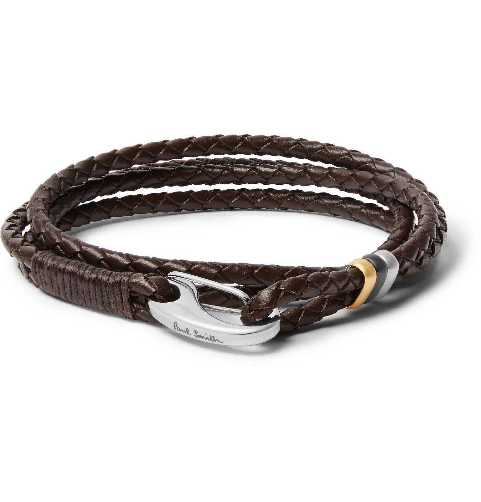 Photo: Paul Smith - Woven Leather and Silver and Gold-Tone Wrap Bracelet - Brown