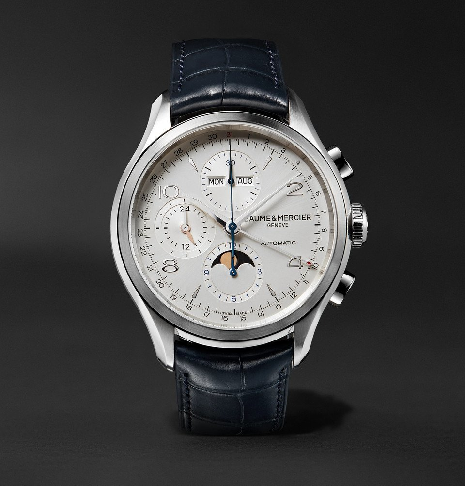 Photo: Baume & Mercier - Clifton Automatic Chronograph 43mm Stainless Steel and Alligator Watch - White