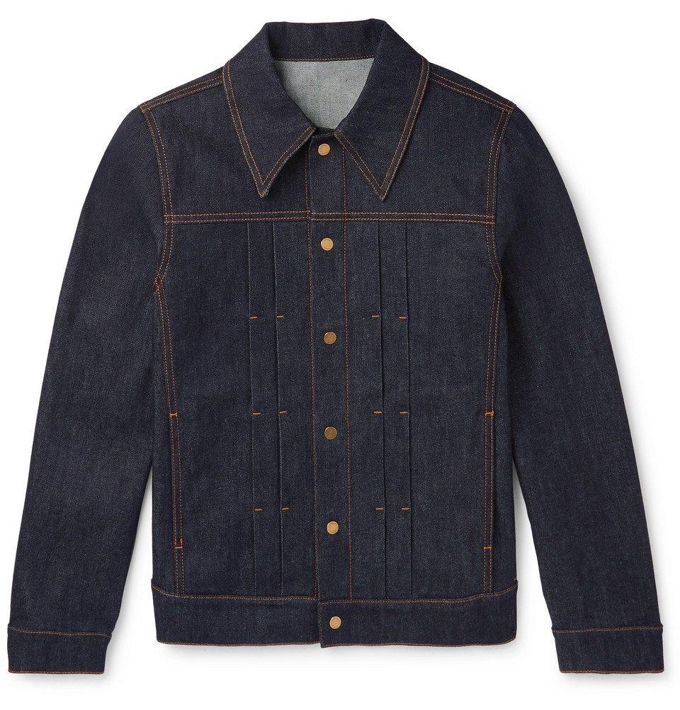 Dunhill - Leather-Trimmed Pleated Stretch-Denim Jacket - Men - Indigo