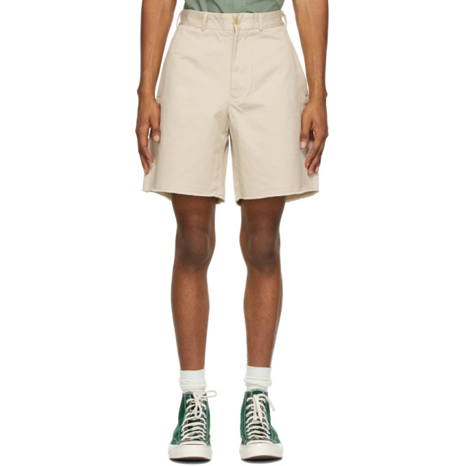 Photo: BEAMS PLUS Off-White Twill Cut-Off Shorts