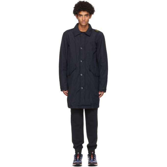 Photo: Stone Island Navy Padded Mac Coat
