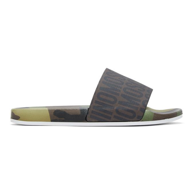 Photo: Moschino Brown Logo Camouflage Slides