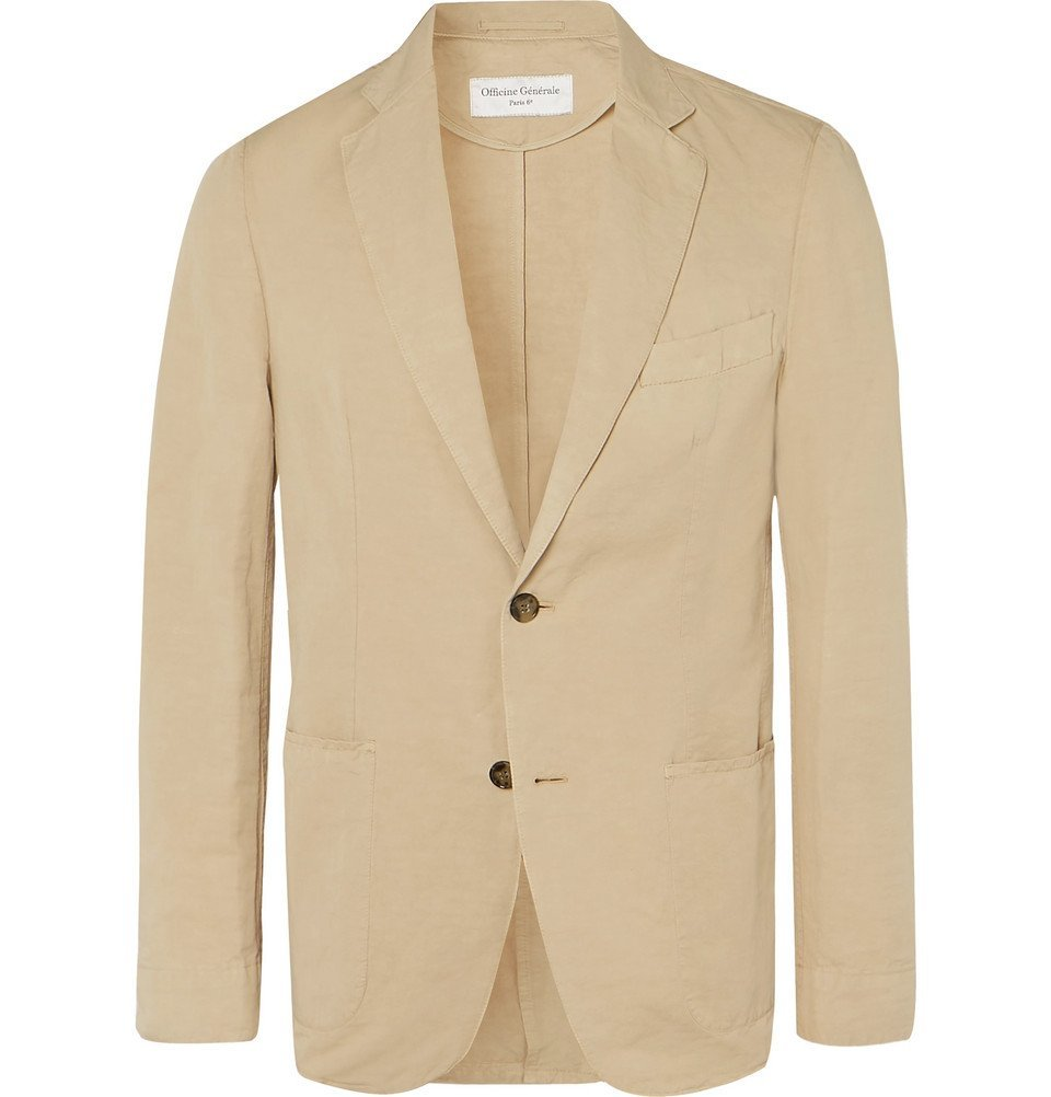 Photo: Officine Generale - Tan Slim-Fit Unstructured Garment-Dyed Cotton and Linen-Blend Suit Jacket - Beige