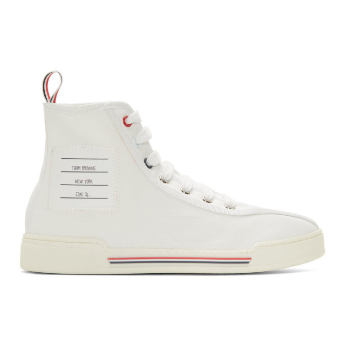 Photo: Thom Browne White Cupsole High-Top Sneakers
