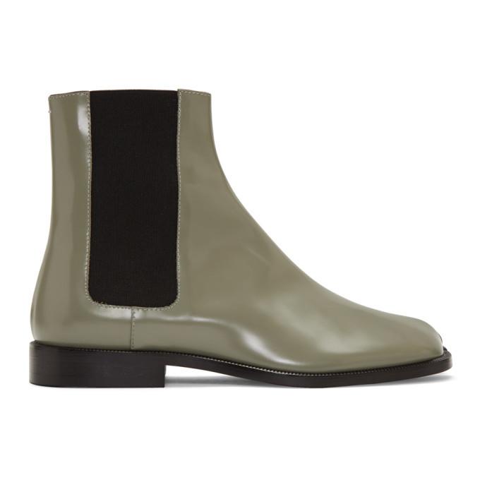 Photo: Maison Margiela Green Tabi Chelsea Boots