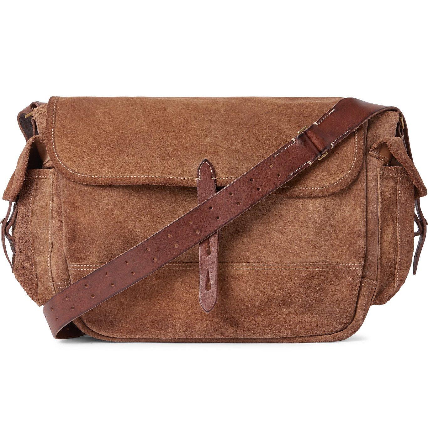 Photo: RRL - Leather-Trimmed Suede Messenger Bag - Neutrals