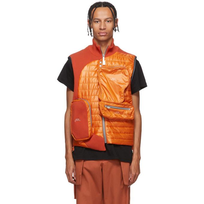 Photo: A-Cold-Wall* Orange Asymmetrical 3D Pocket Puffer Vest