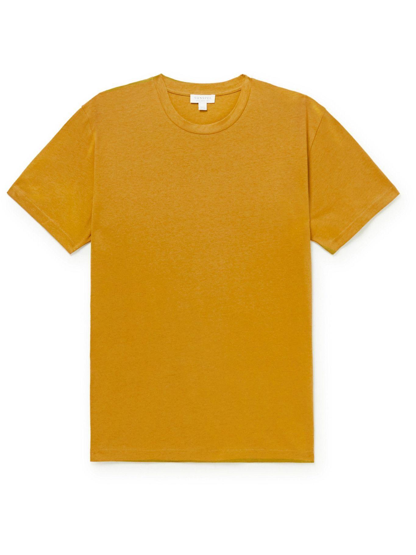 SUNSPEL - Riviera Cotton-Jersey T-Shirt - Yellow
