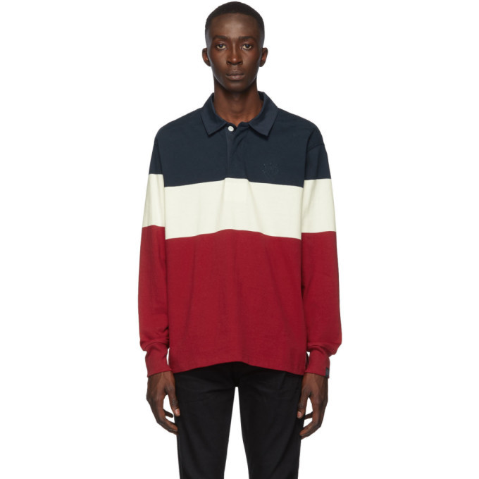 Photo: rag and bone Navy and Red Colorblock Rugby Polo