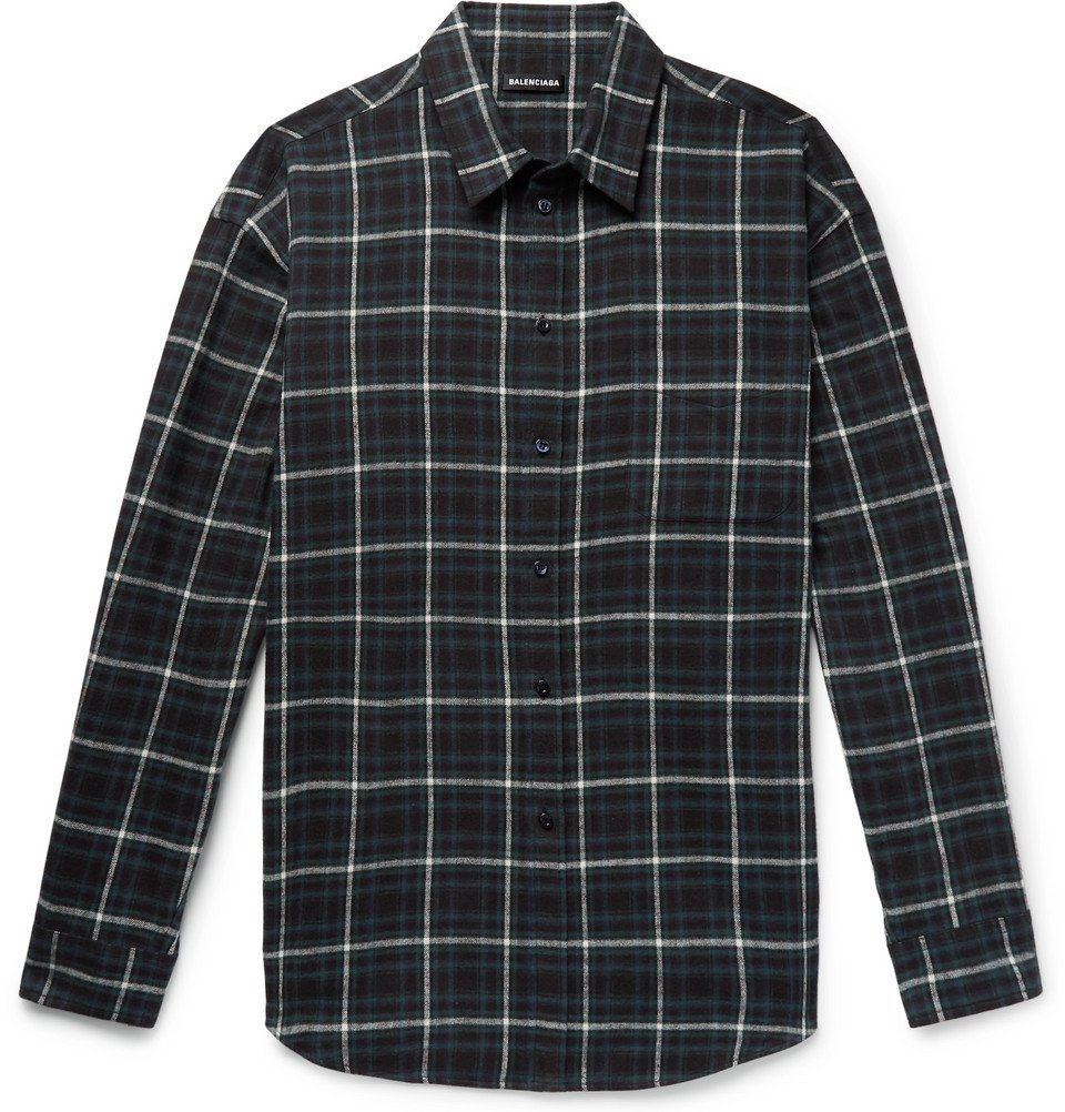 Photo: Balenciaga - Oversized Checked Cotton-Flannel Shirt - Dark green