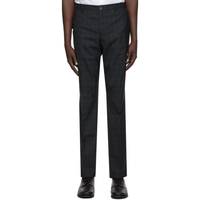 Photo: PS by Paul Smith Navy and Green Plaid Trousers