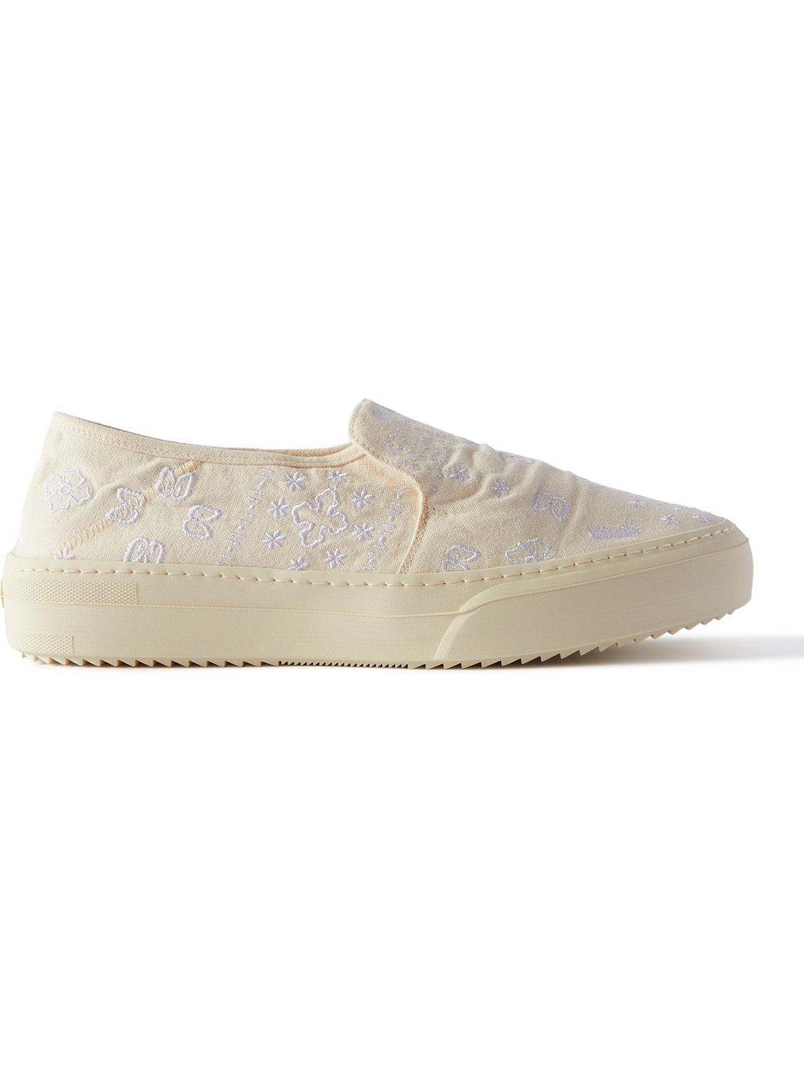 Photo: Rhude - Embroidered Canvas Slip-On Sneakers - Neutrals