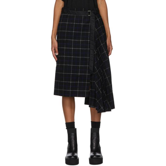Sacai Black Wool Windowpane Skirt