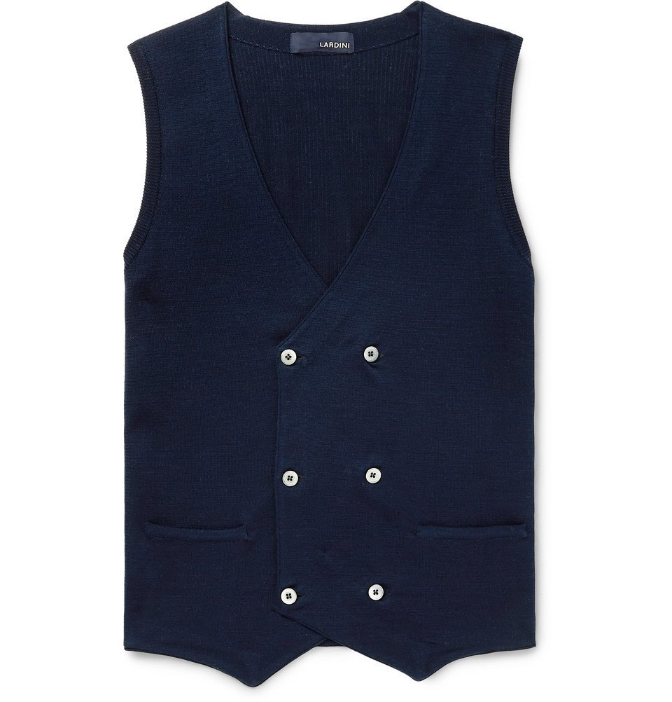 Photo: Lardini - Slim-Fit Double-Breasted Knitted Cotton Sweater Vest - Navy