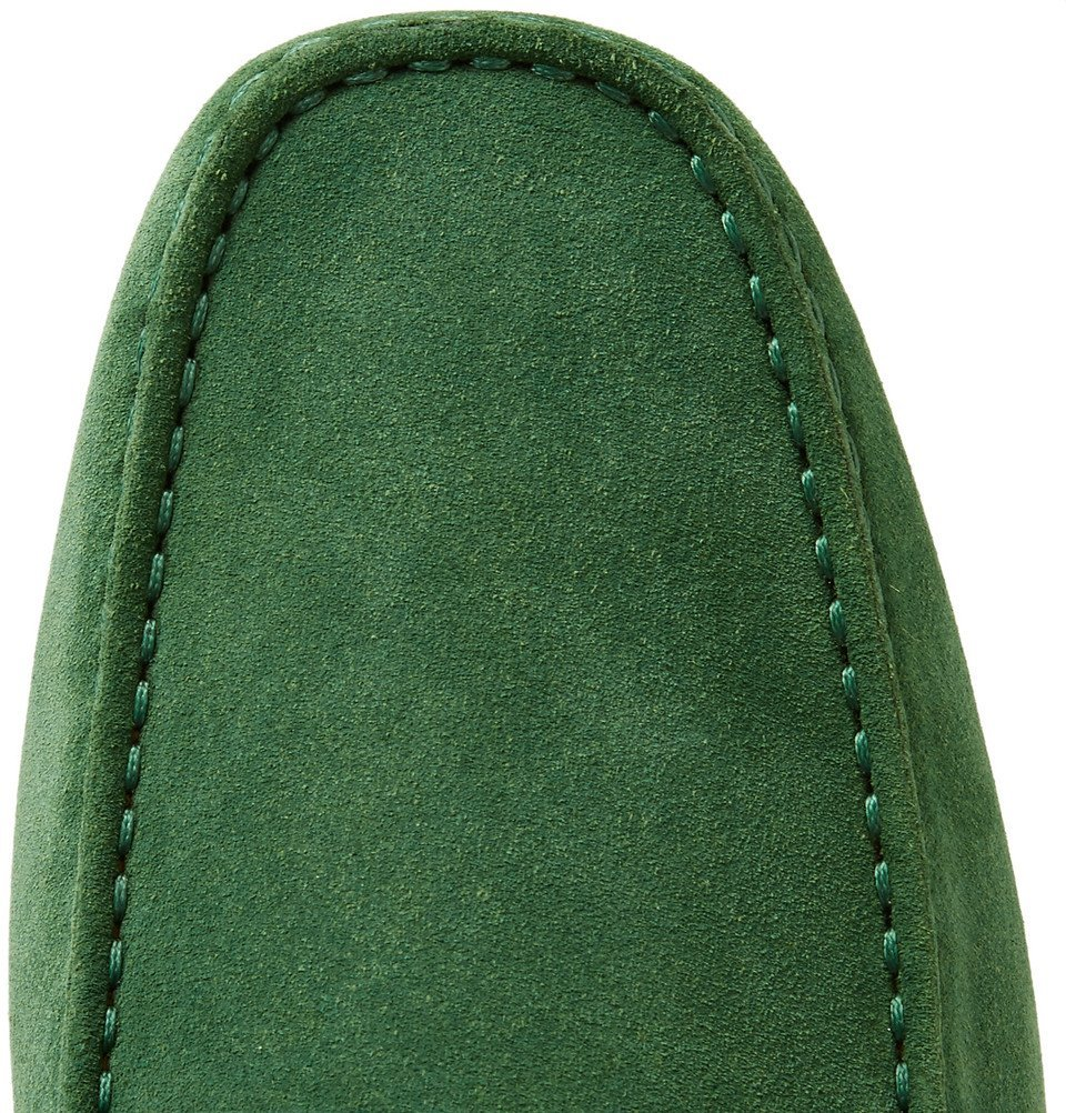 Tod's - Gommino Leather-Trimmed Suede Driving Shoes - Men - Green