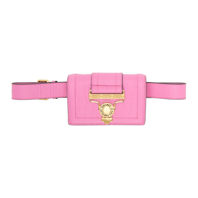 Photo: Versace Jeans Couture Pink Croc Salopette Buckle Belt Bag