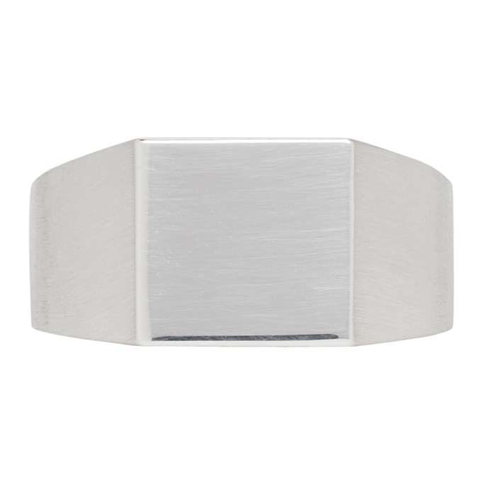 Photo: All Blues Silver Brushed and Polished Platform Ring