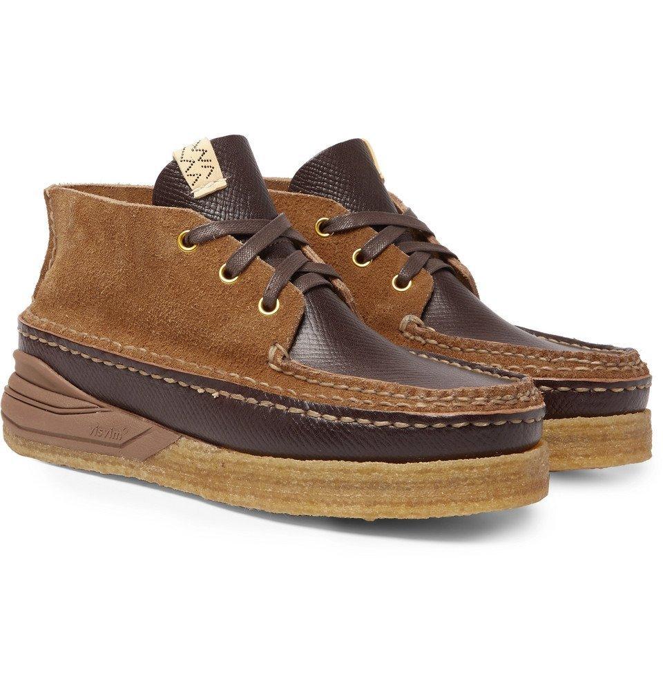 Photo: visvim - Canoe Moc II Cross-Grain Leather and Suede Boots - Brown